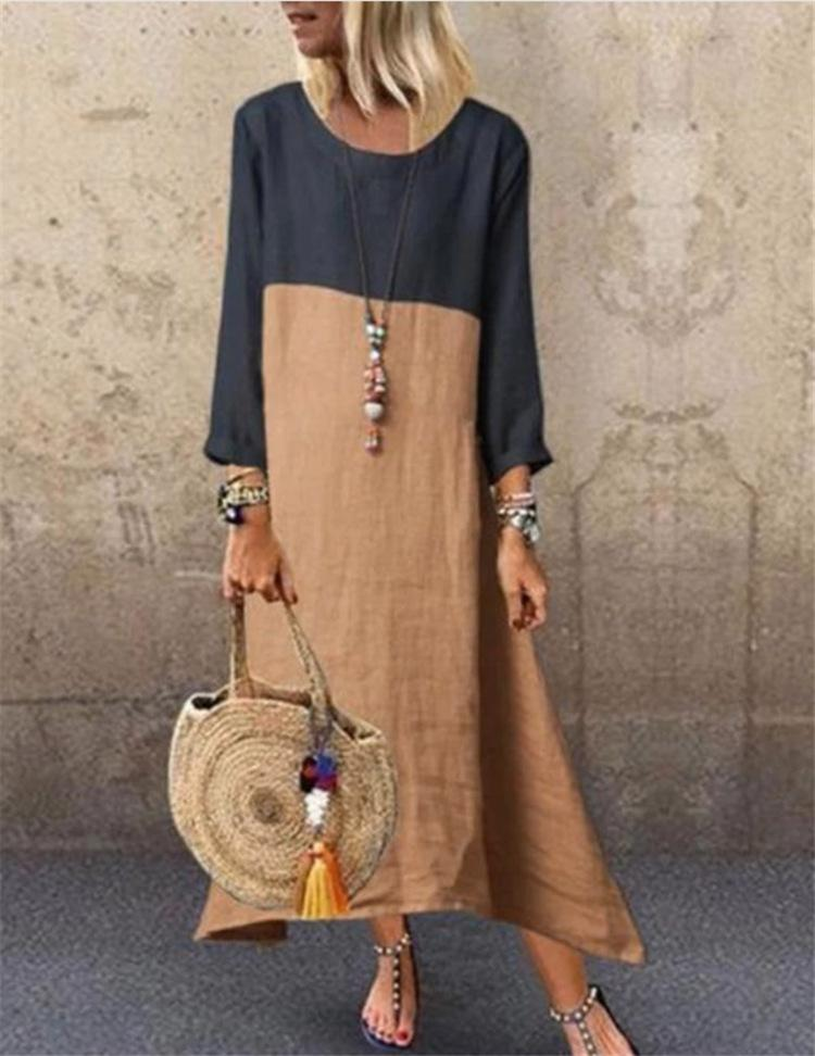 Plus Size Color Block Paneled Round Neck Long-Sleeved Linen/Cotton A-Line Dress