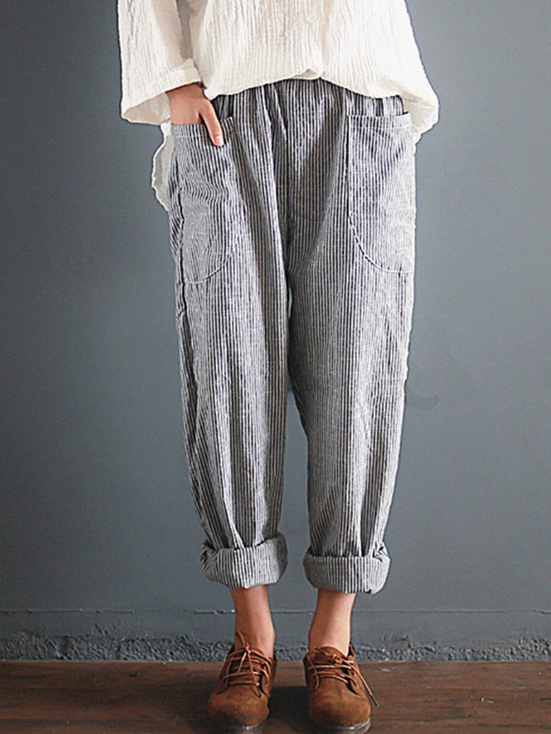 Women High Rise Loose Striped Print Harem Pants