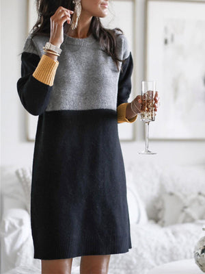 Multicolor Color Block Round Neck Pullover Long Sweater Dress