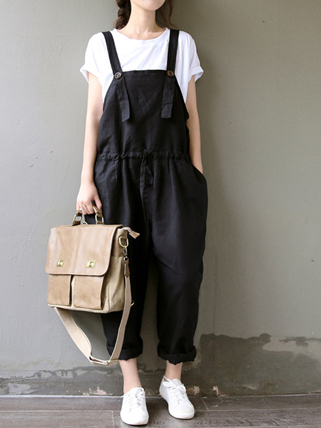Casual Linen/Cotton Plus Size Suspender Jumpsuits