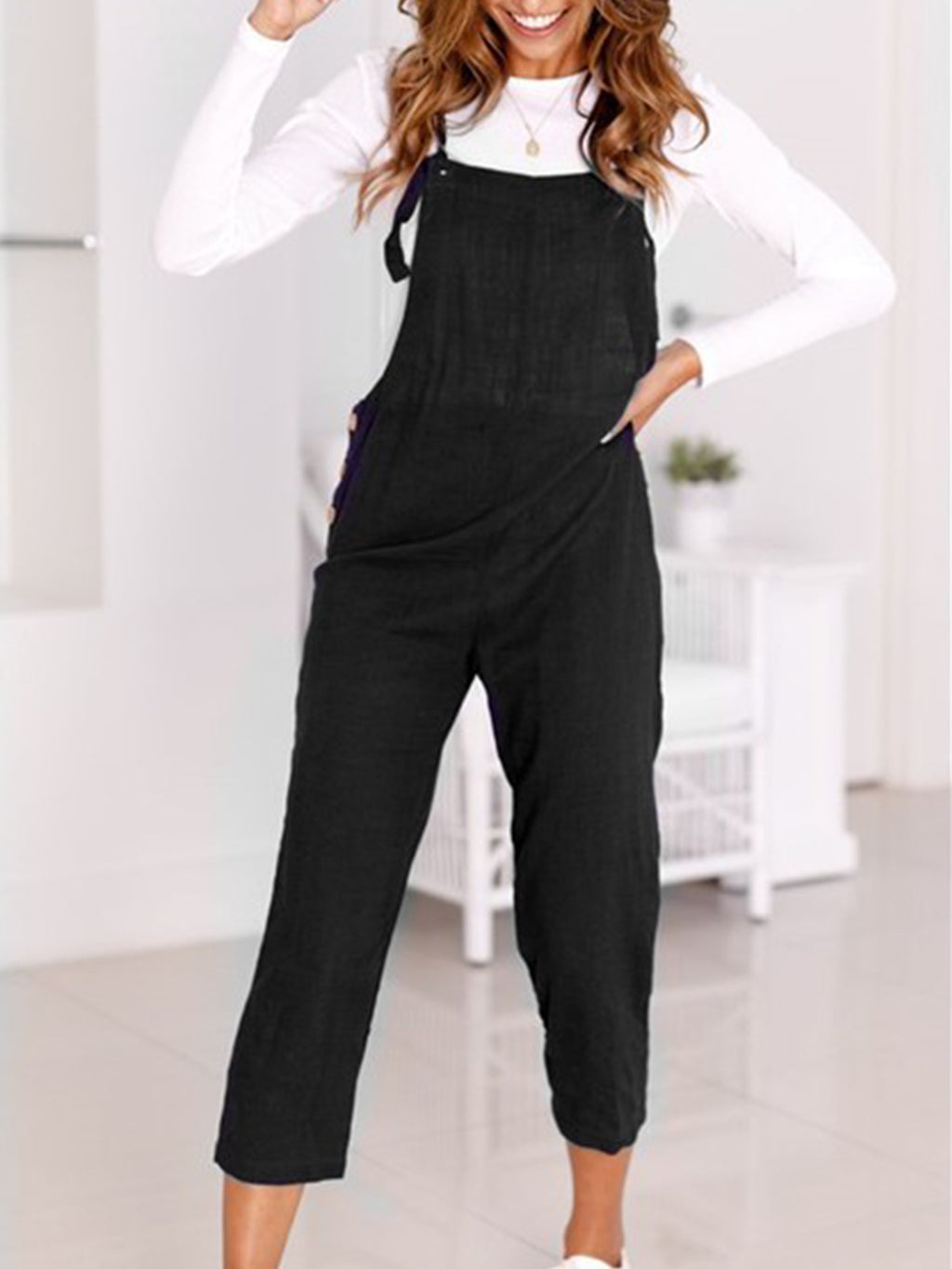 Fitting Button Cotton Spaghetti Crop-length Casual Jumpsuits