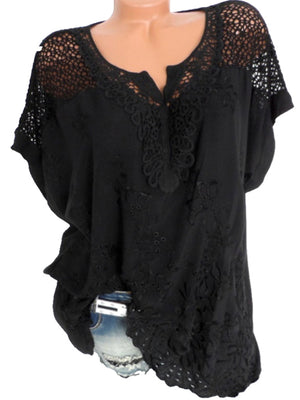 Plus Size Casual V-neck Cutout Batwing Blouse