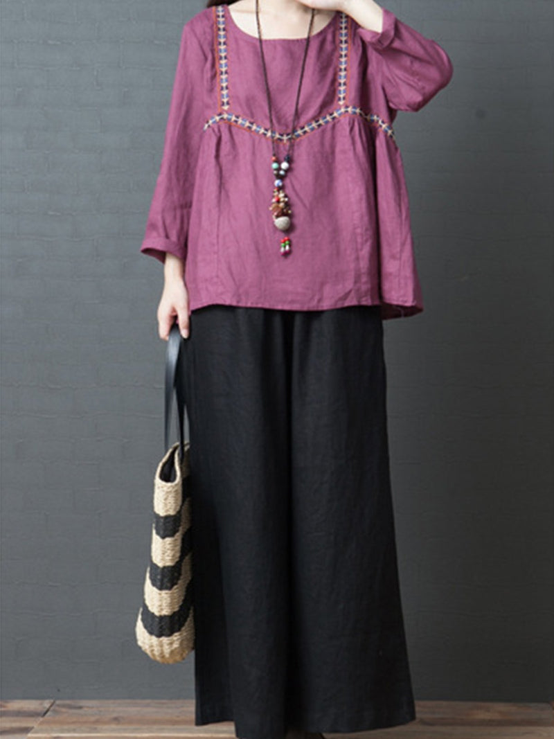 Loose Casual Comfortable Adjustable Waist Linen Pants
