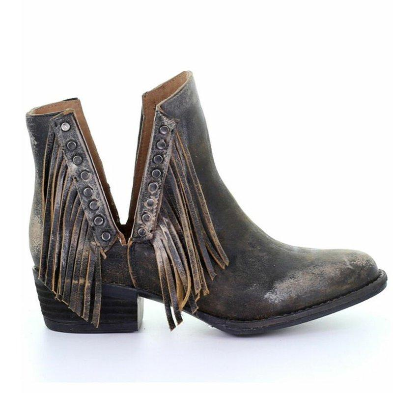 Plus Size Side Cut Fringe Chunky Heel Ankle Boots