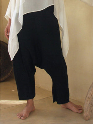 Solid Linen/Cotton Low Crotch Harem Pants