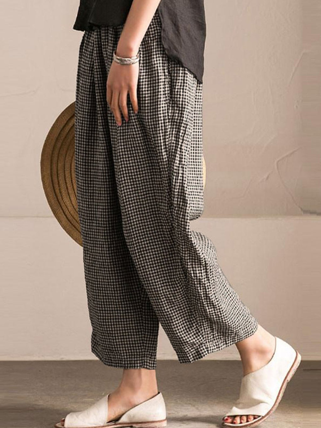Plus Size Casual Pockets Shift Checkered Pants