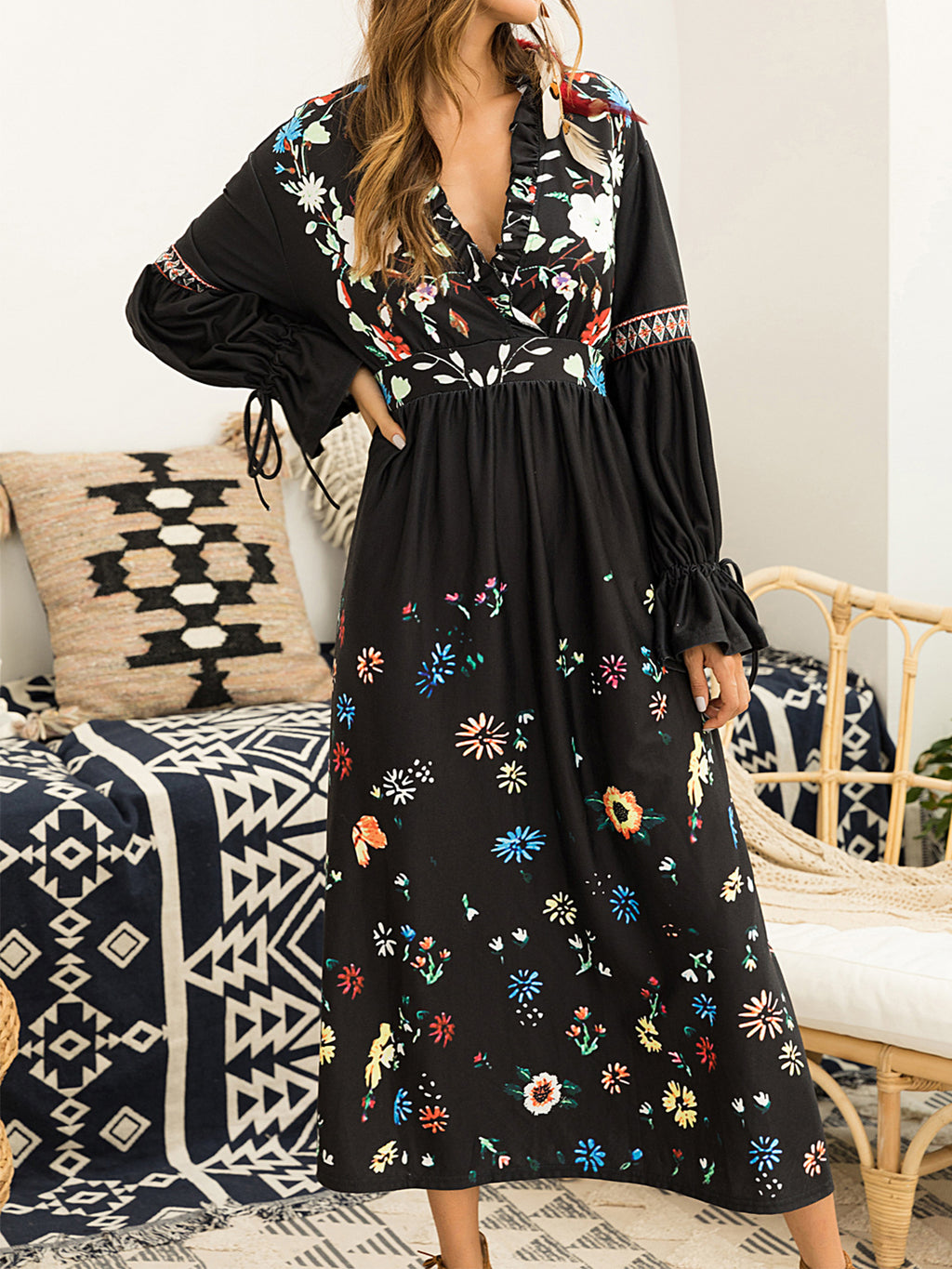 Bohemia Black Floral Printing Mid-calf Gathering Dress