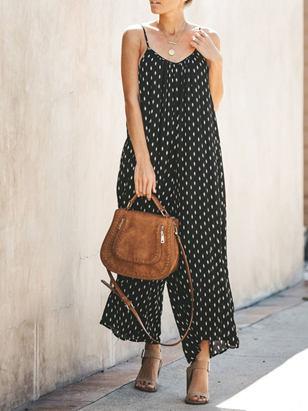 Polka Dot Sexy Spaghetti With Pocket Women Loose Jumpsuits