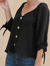 V Neck Button-Down Loose Long-Sleeve Bowknot Cuff Blouse