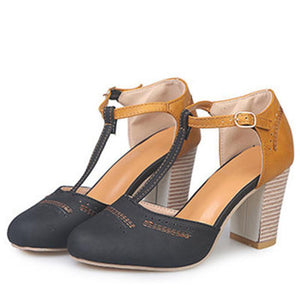 Color Block T-Bar High Heels Sandals