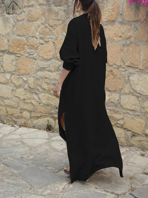 Linen/Cotton Deep V Neck Loose Long Sleeve Side Slit Maxi Dress