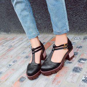 Round Toe Chunky Heels Double Buckle Sandals