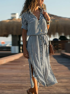 Blue Shift Women Daily Elegant Half Sleeve Paneled Striped Summer Dress