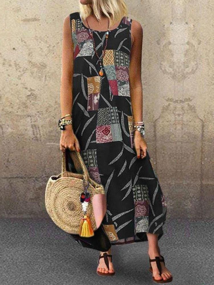 Plus Size Round Neck Full-Length Geometric Print A-Line Dress