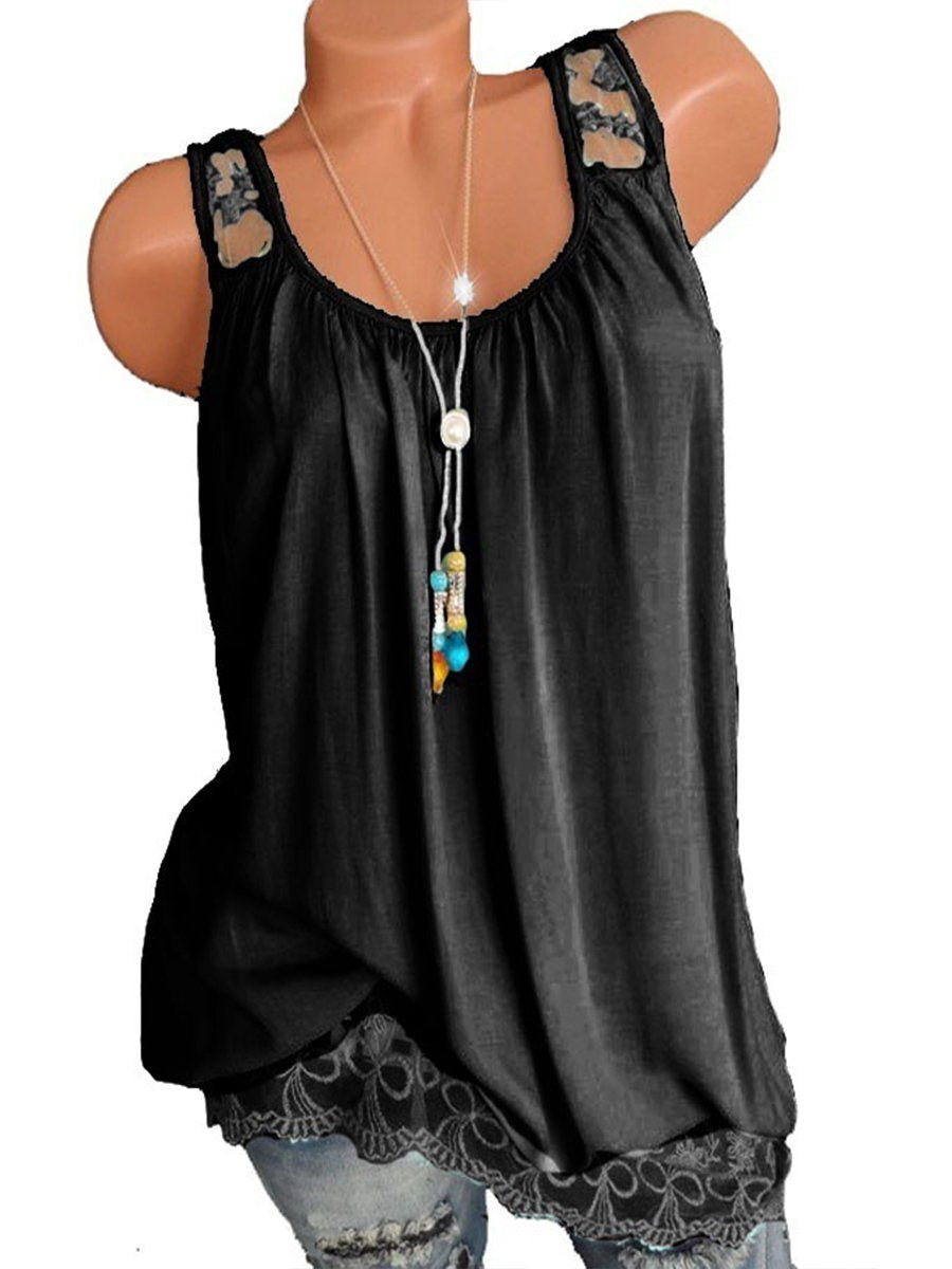 Sleeveless Lace Hollow Shoulder Strap Gathering Loose Tank
