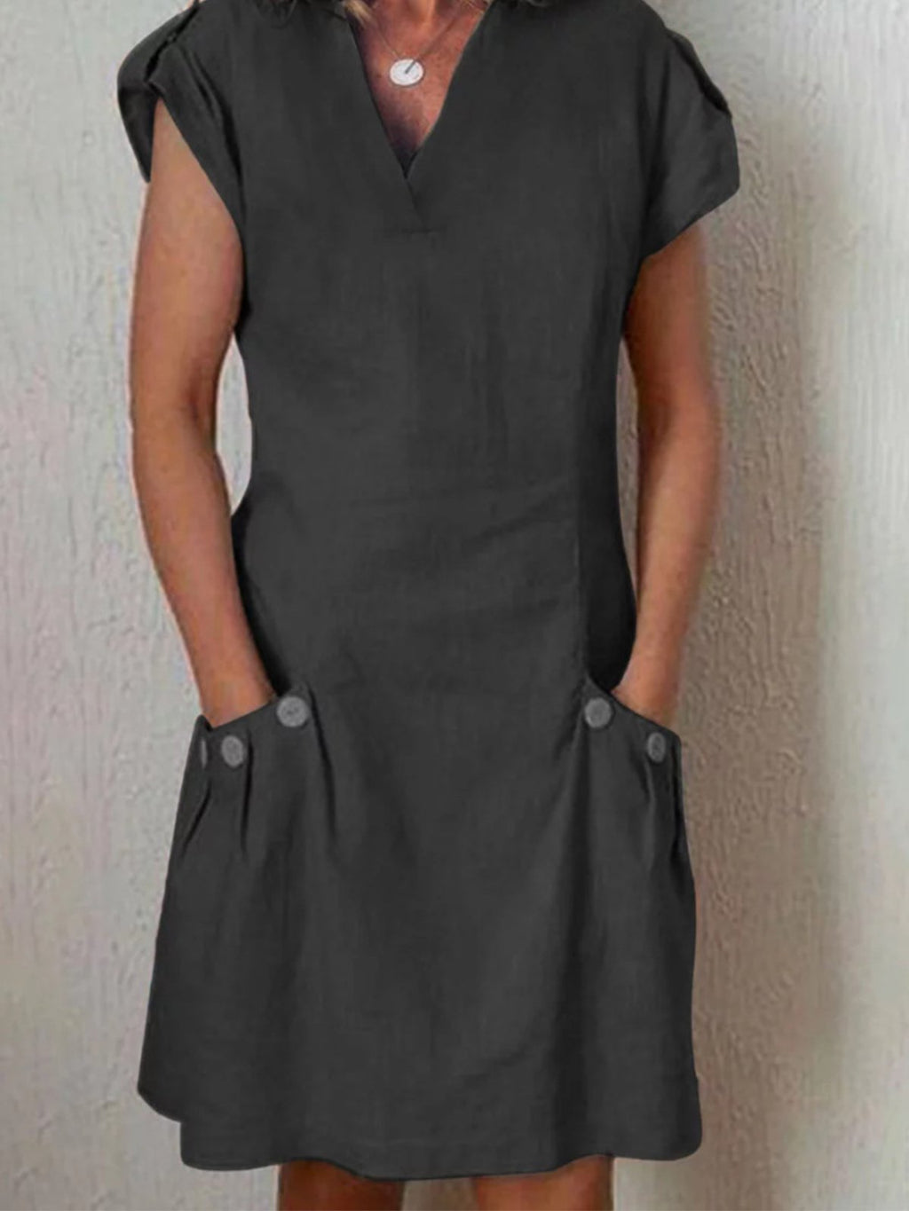 V Neck Button Trim Short Sleeve Slim Dress