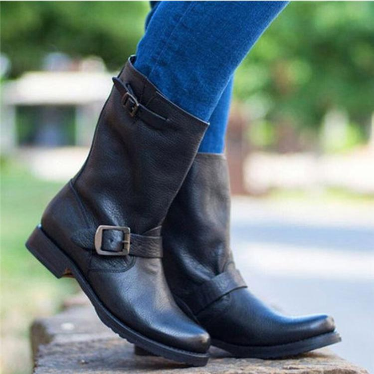Classic Buckle Trim Women Round Toe Mid-Calf Low Heels Boots