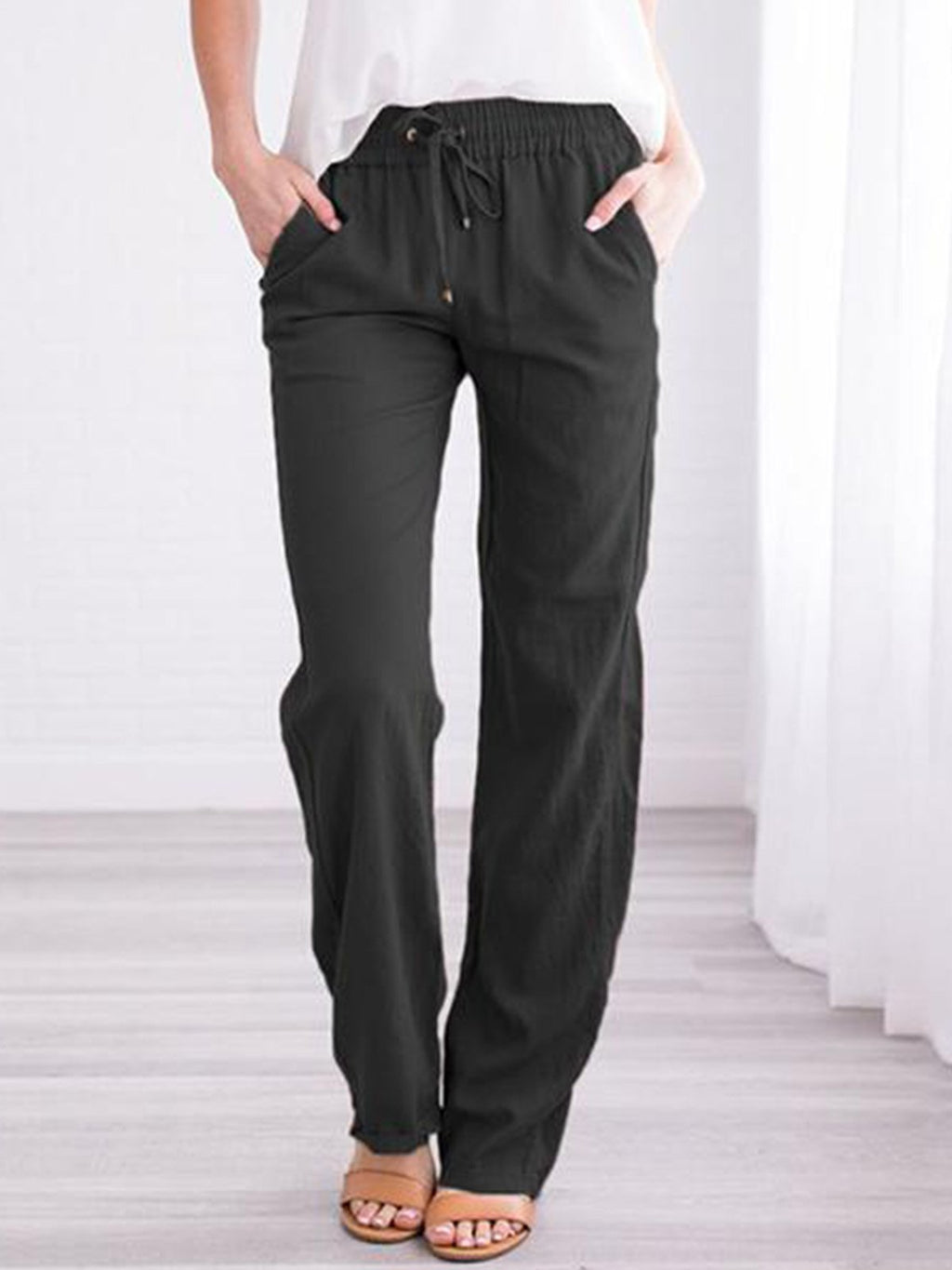 Plus Size Solid Draw-String Adjustable Waist Cotton Long Pants