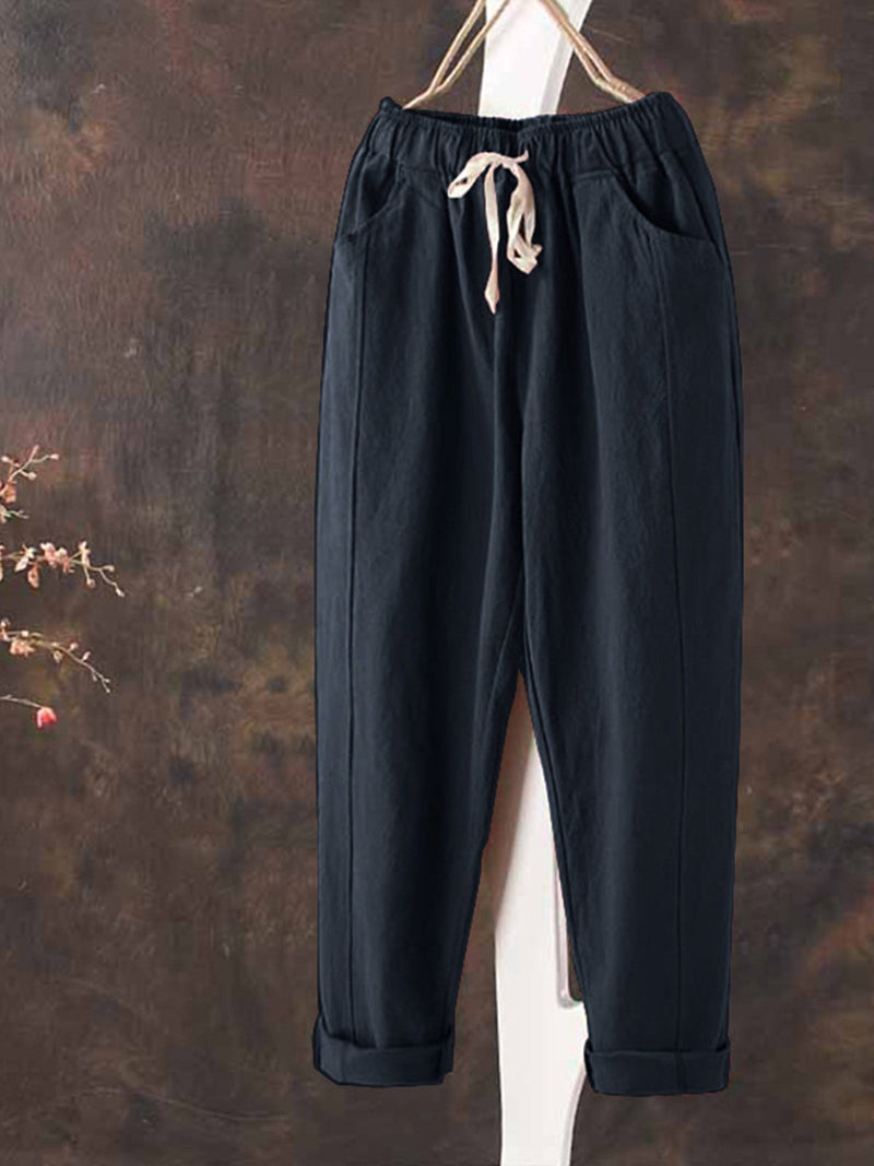 All Season Linen Casual Pockets Drawstring Natural Pants