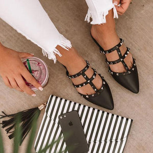 Rivet Trim Point Toe Hollow Mule Sandals