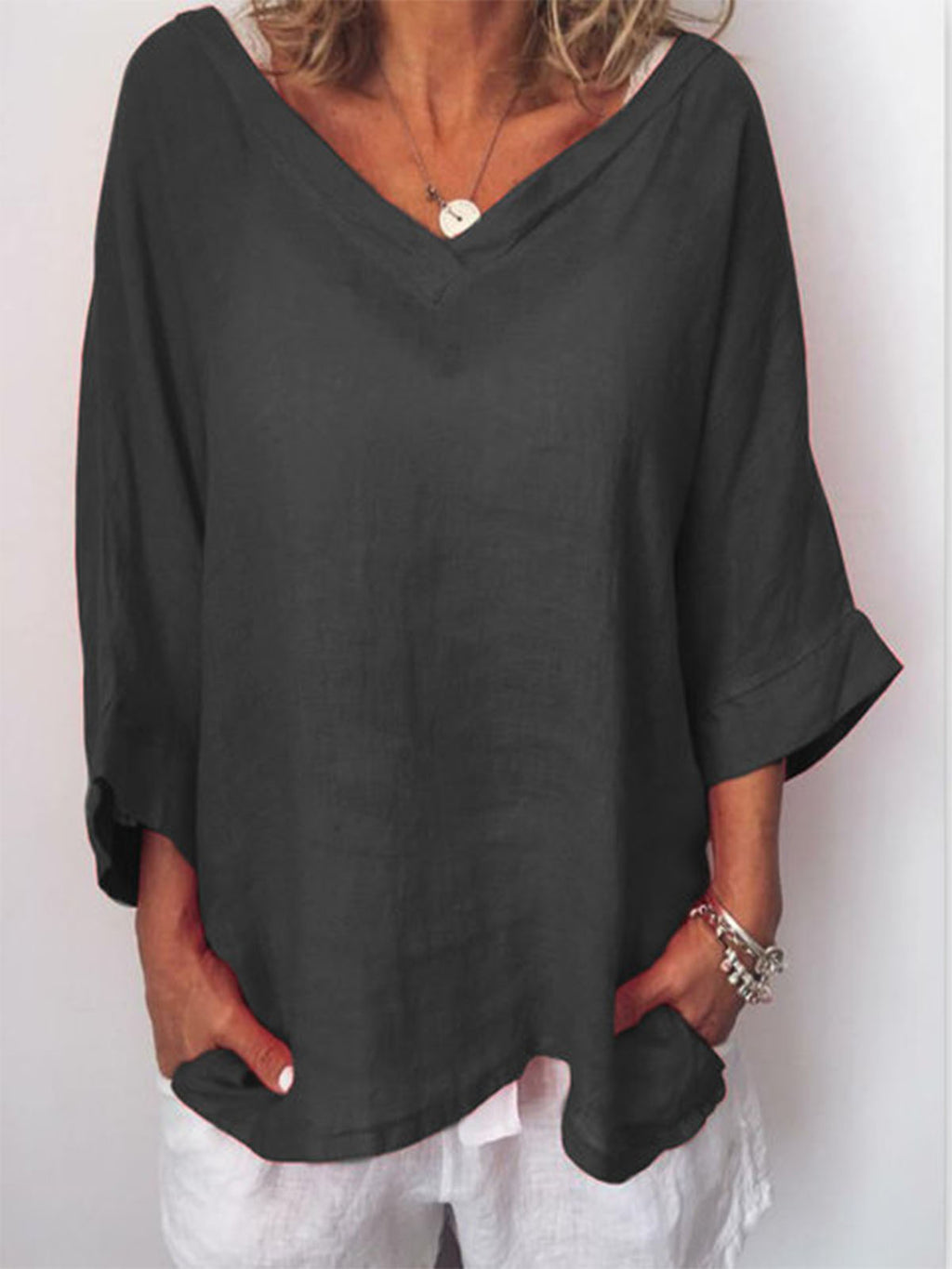 Solid V Neck 3/4 Sleeve Loose Blouse