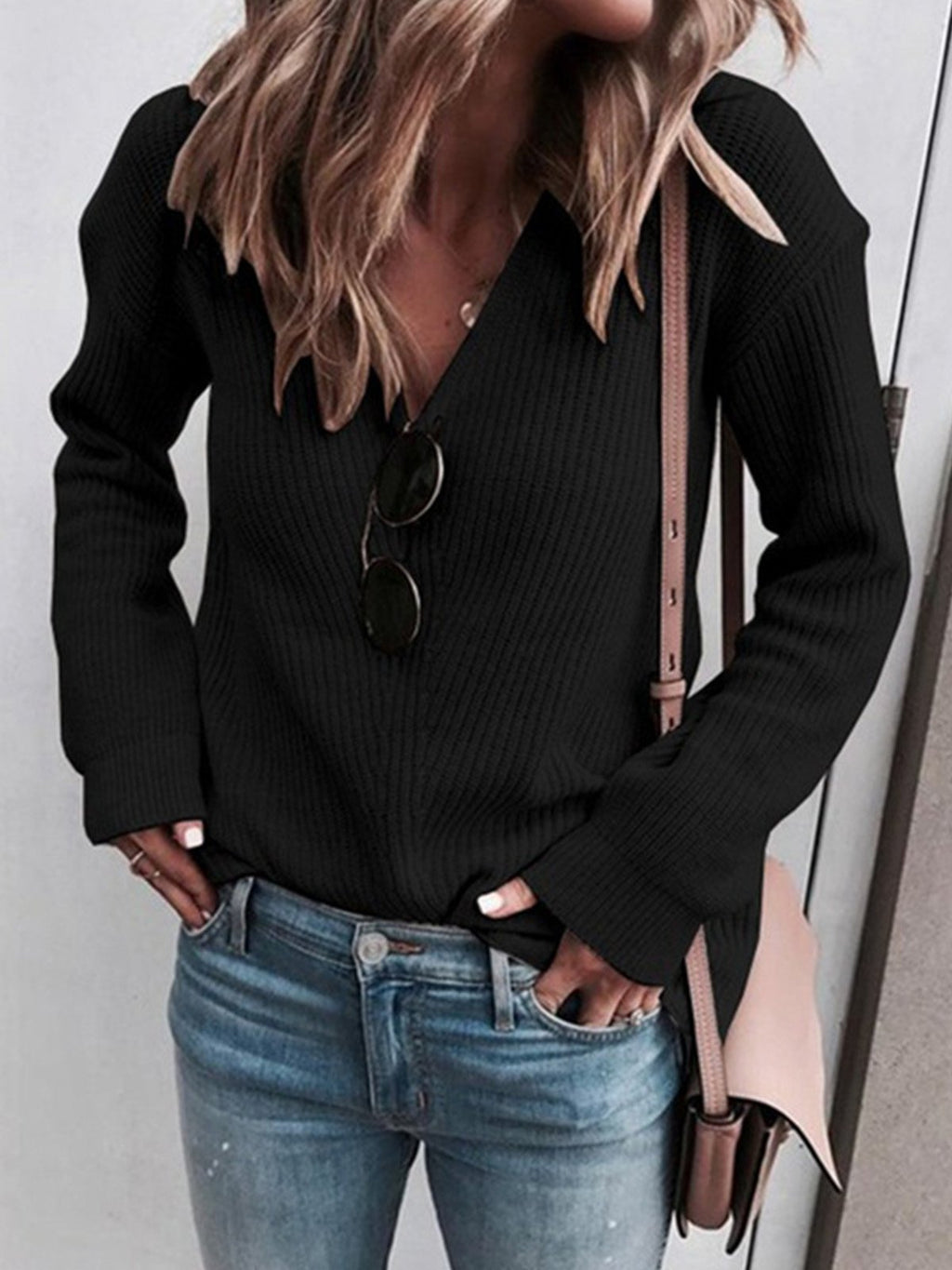 Plus Size Solid V Neck Rib Knit Sweater