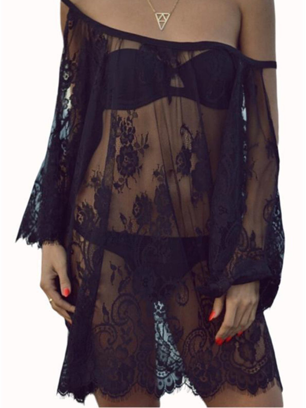 Lace Cold Shoulder Beach Sexy Cover-up Dress