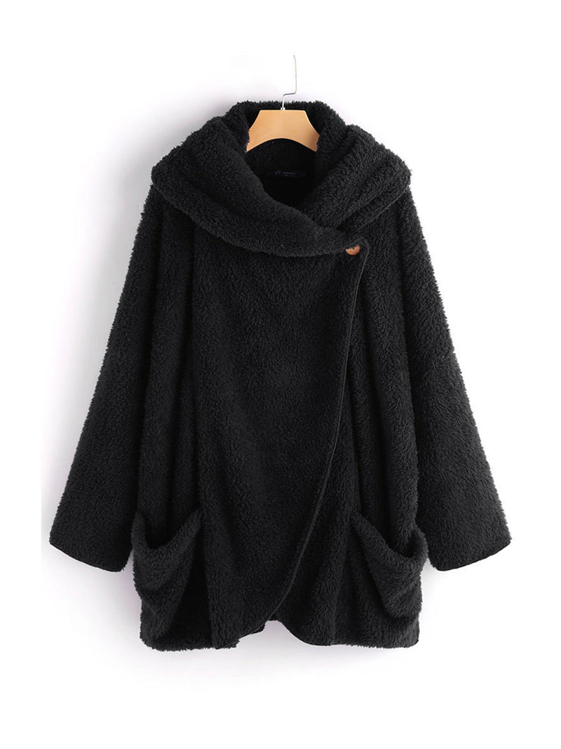 Plus Size Solid Turndown Collar Pocket Long-Sleeved Cardigan Coat