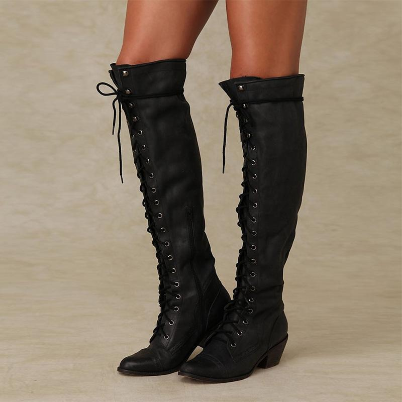 Point Toe Front Crisscross Lace-Up Knee-High Medium Chunky Boots