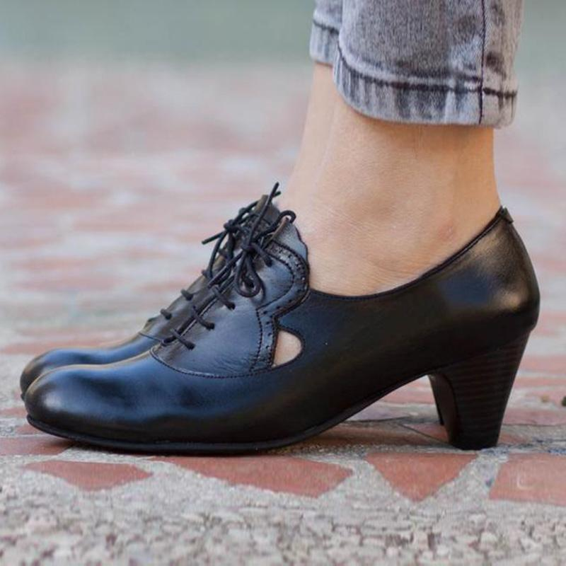 Pu Lace-Up Brogues High Heeled Shoes