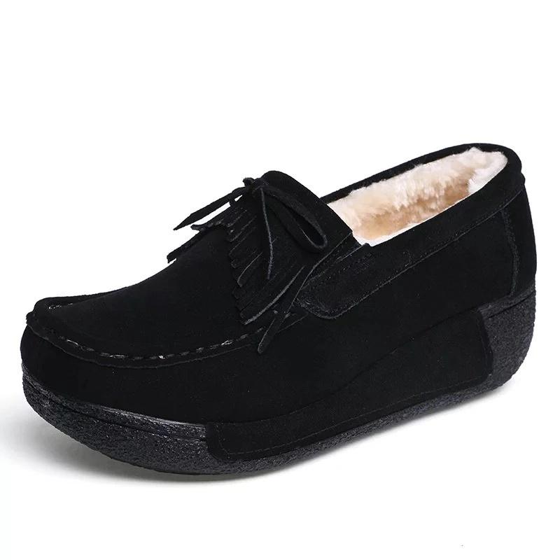 Flocking Fringe Bowknot Low Wedges Slip-On Shoes
