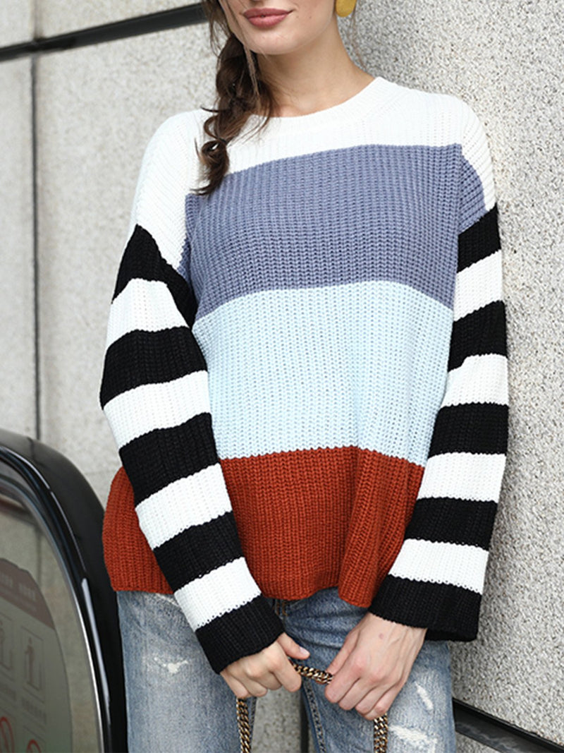 Stylish Stripe Splice Sleeve Color Collision Sweater