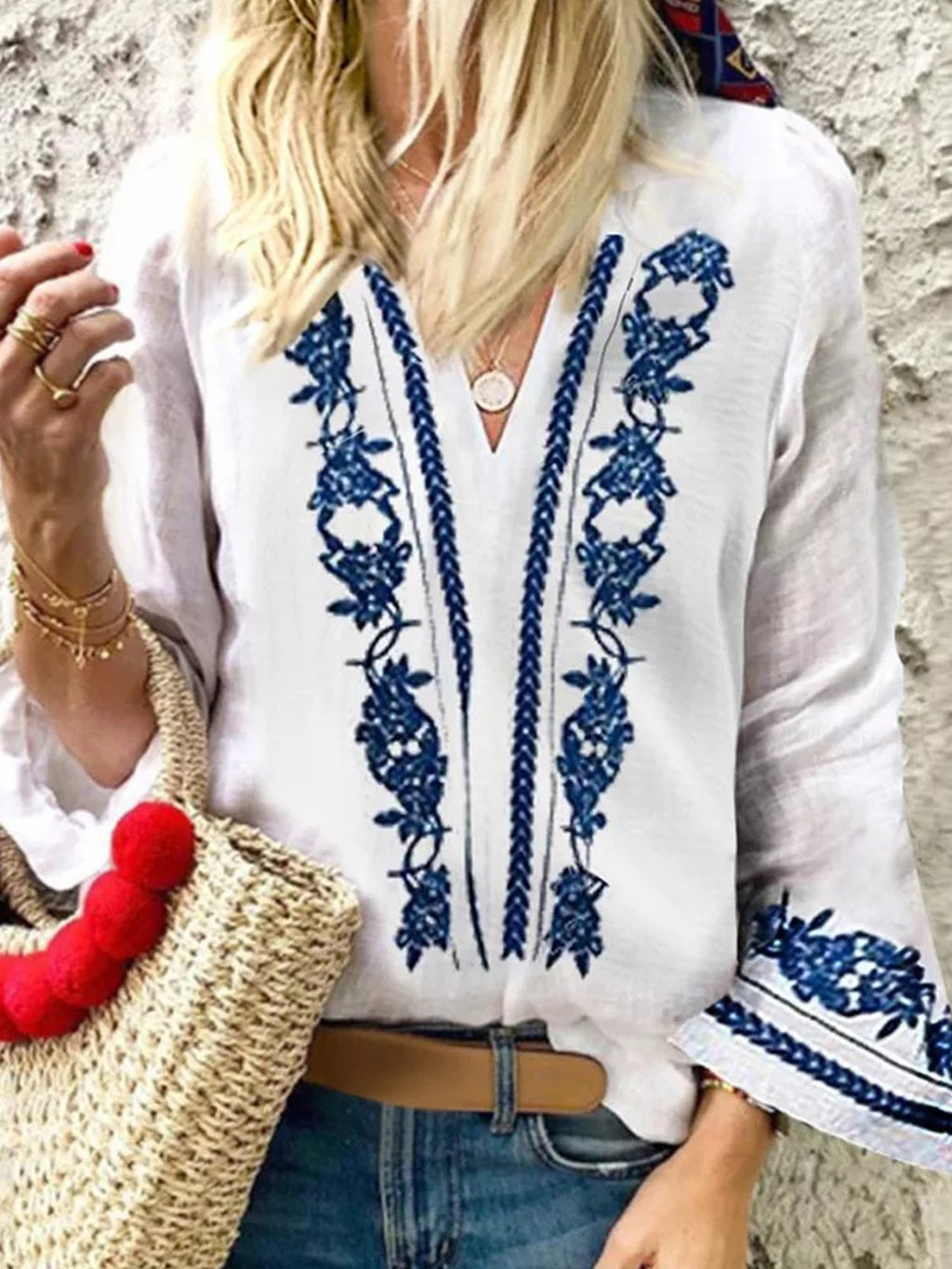 Flok Style Shirt V Neck Bell Sleeve Blue-and-white Porcelain Printing Top