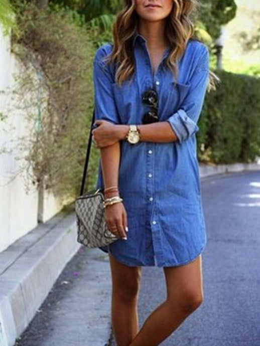 Single Breast Button Placket Denim Pocket Shirtdress