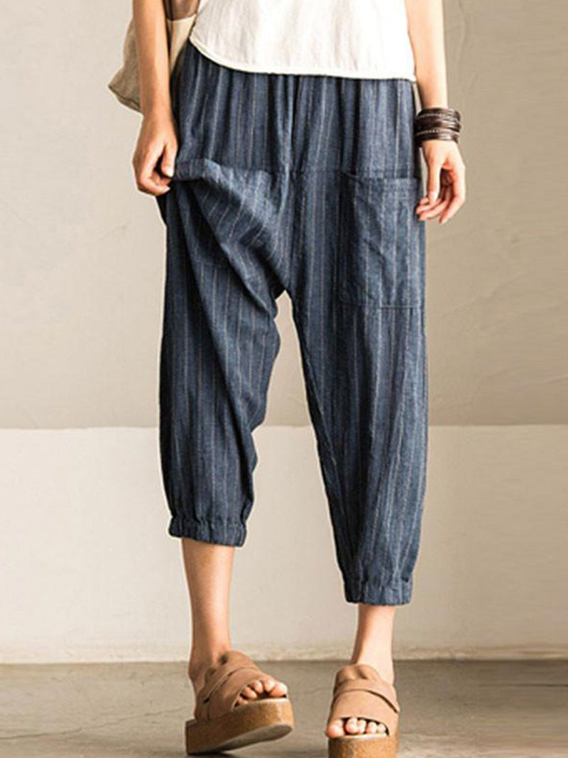 Women High Waist Casual Loose Crop Harem Pants