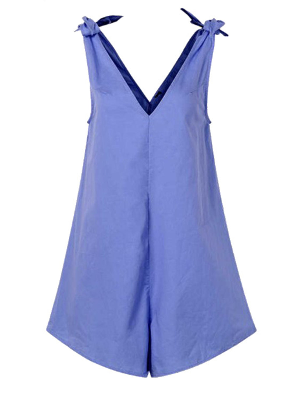 Solid Cotton Tied Shoulder-Strap Mini Jumpsuits