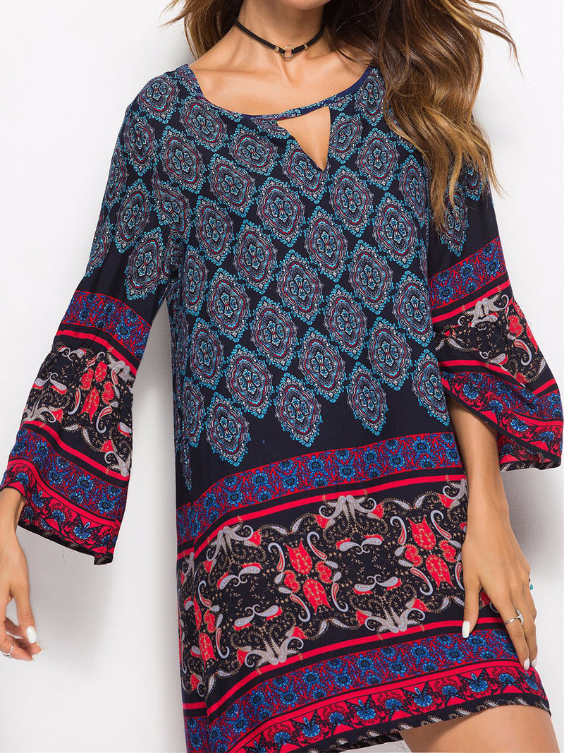 Boho Printing V Neck Loose Midi Dress