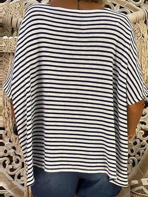 Women's Stripes Wide Deep V Neck Short Sleeve T-Shirt