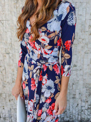 Holiday Lace Up Floral 3/4 Sleeve V Neck Dresses
