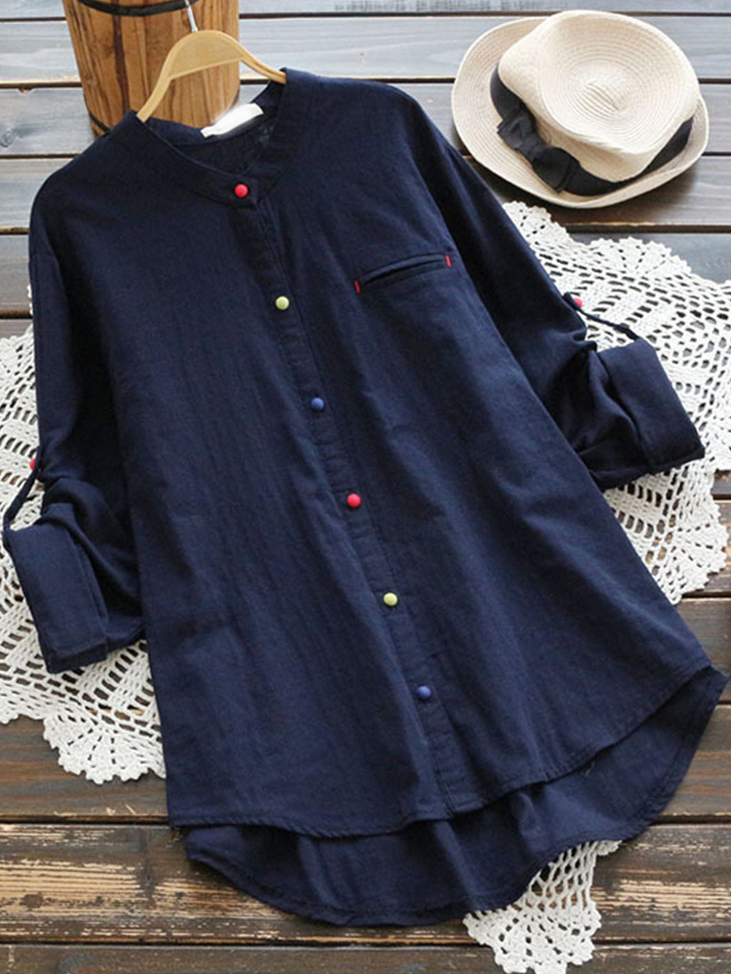 Cotton Stand Collar Multicolor Button Placket Long Sleeve Shirt