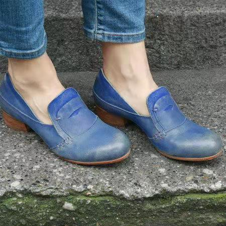 Distress Artificial Leather Low Chunky Loafers