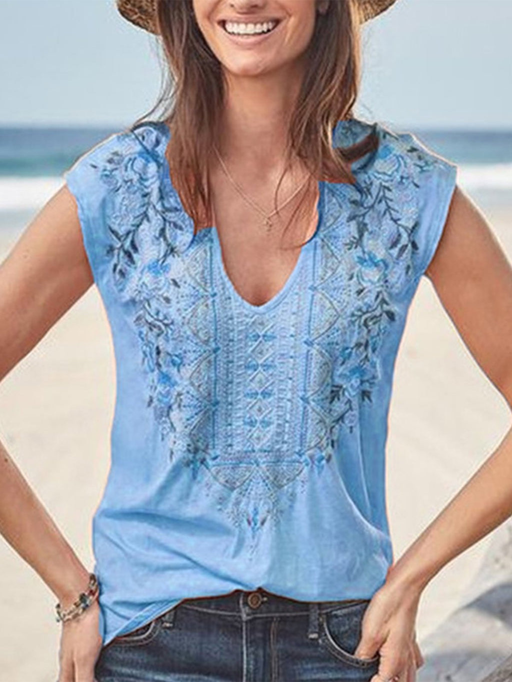 Floral Embroidery V Neck Bohemia Style Cap-Sleeve Blouse