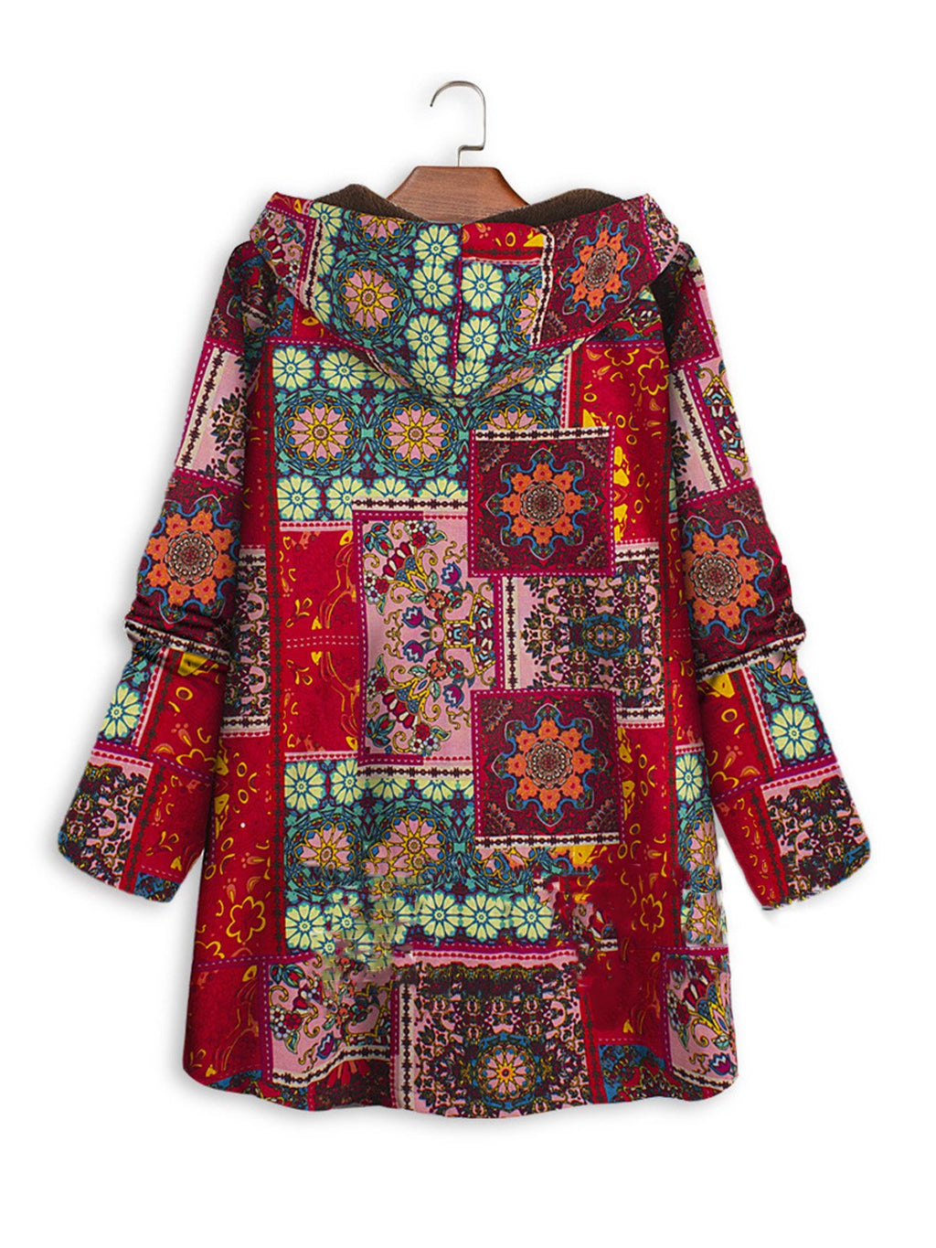 Plus Size Vintage Printed Velour Lined Buttoned Coat