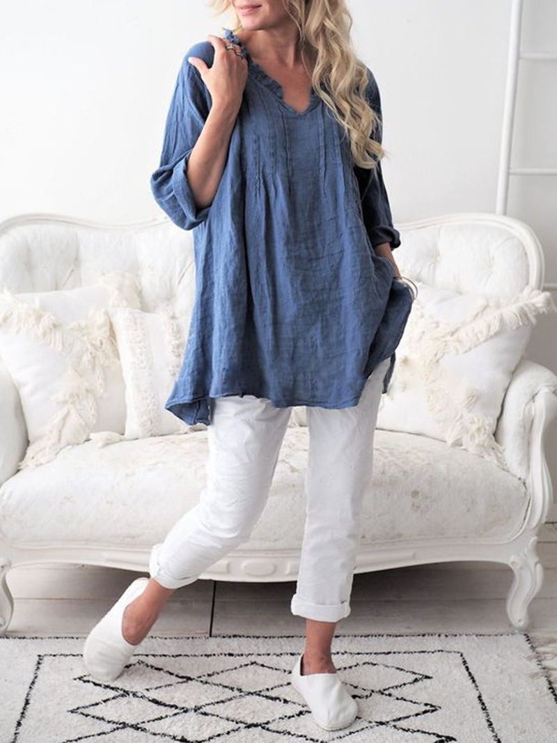 V Neck Long Sleeve Pullover Neck Blouse