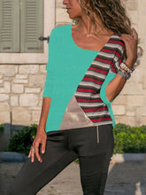 Paneled Color Block Striped  Long Sleeve Casual Women Top