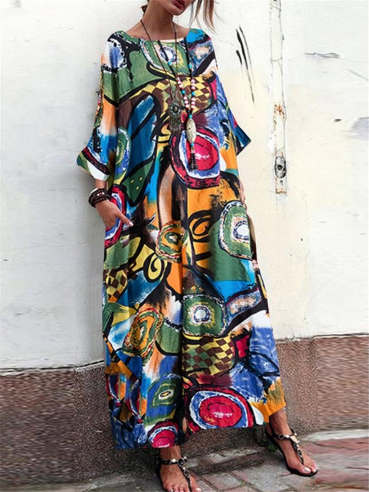 Abstract Print Crop-Sleeved Flare Sleeve Maxi Linen/Cotton Dress