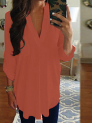 Women V Neck Full Sleeve Pocket Loose Chiffon Shirt