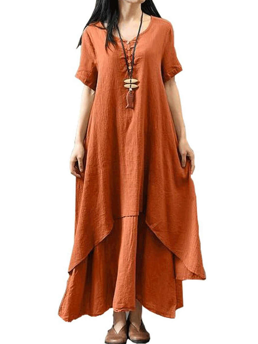 Plus Size Casual Short Sleeve V Neck Solid Maxi Tiered Dress
