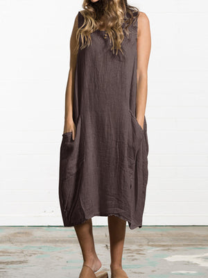 Loose Linen Solid Shirring Mid-calf-length Dress