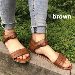 Plus Size Breathable PU Flat Zipper Sandals